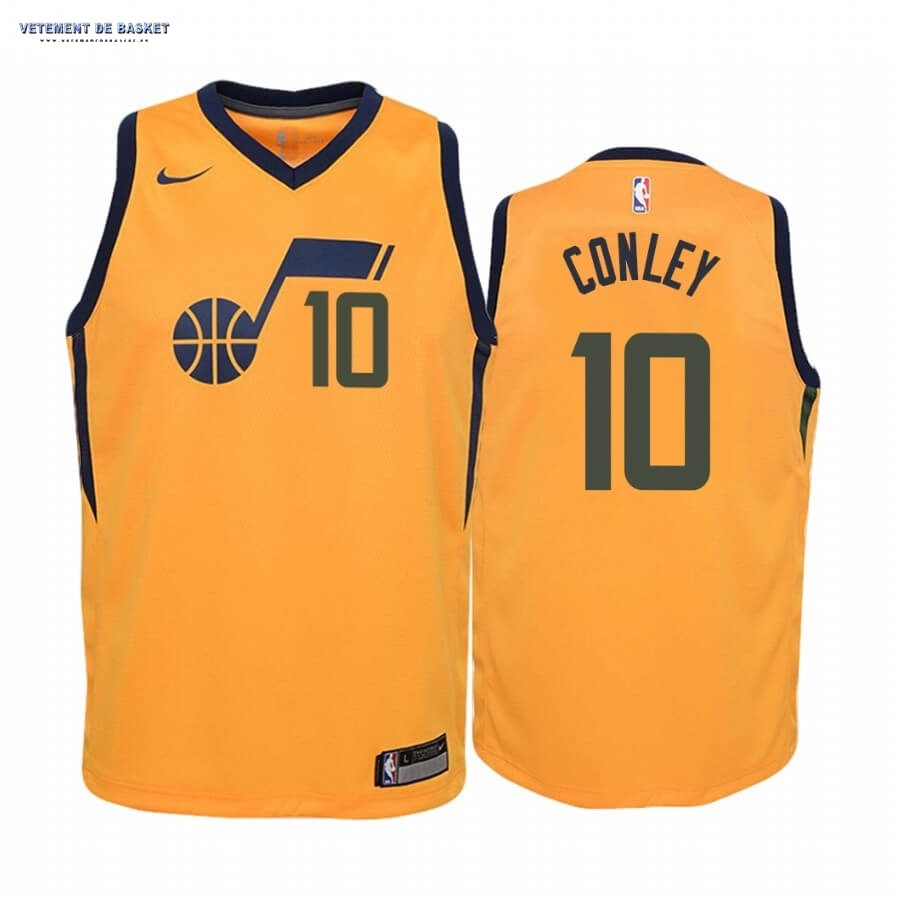 Maillot NBA Enfant Utah Jazz NO.10 Mike Conley Jaune Statement 2019-20