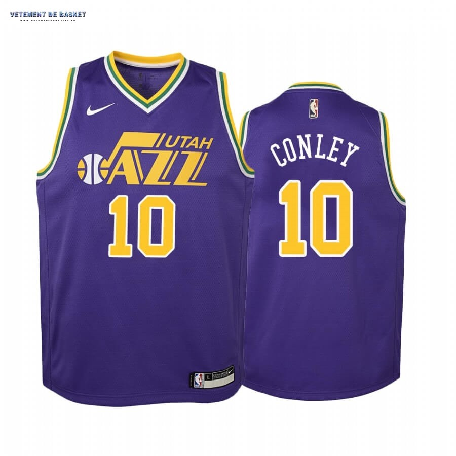 Maillot NBA Enfant Utah Jazz NO.10 Mike Conley Pourpre Hardwood Classics