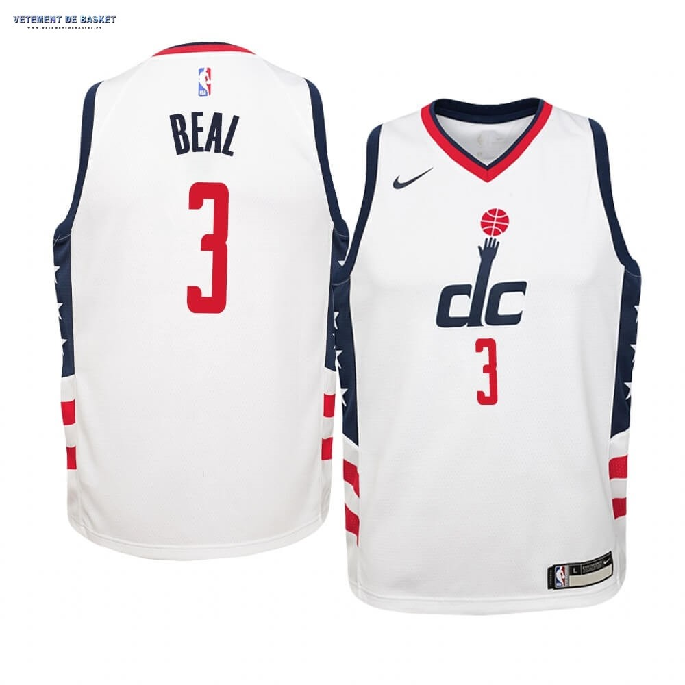 Maillot NBA Enfant Washington Wizards NO.3 Bradley Beal Nike Blanc Ville 2019-20