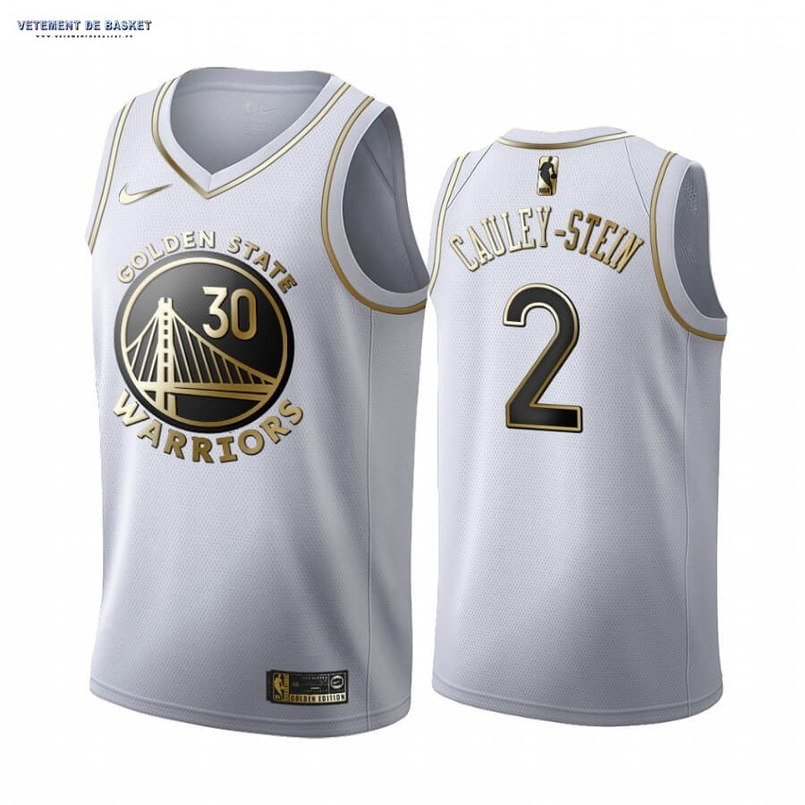 Maillot NBA Nike Golden State Warriors NO.2 Willie Cauley-Stein Blanc Or 2019-20