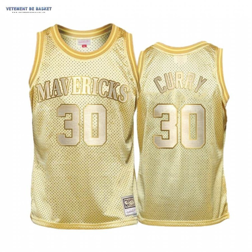 El Nuevo Maillot NBA Enfant Dallas Mavericks Midas NO.30# Seth Curry Or Hardwood Classics