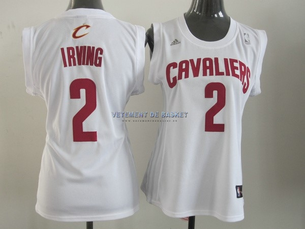 Maillot NBA Femme Cleveland Cavaliers NO.2 Kyrie Irving Blanc Rouge