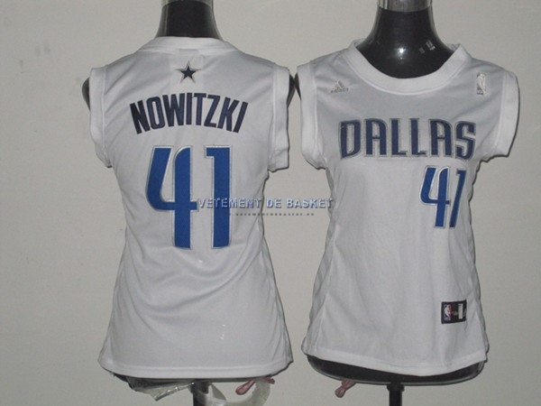 Maillot NBA Femme Dallas Mavericks NO.41 Dirk Nowitzki Blanc