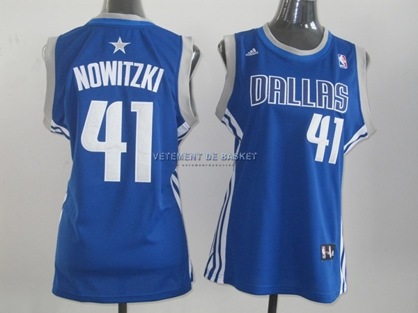 Maillot NBA Femme Dallas Mavericks NO.41 Dirk Nowitzki Bleu