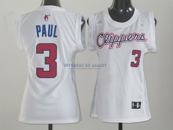 Maillot NBA Femme Los Angeles Clippers NO.3 Chris Paul Blanc
