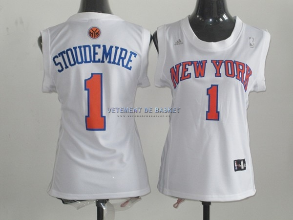 Maillot NBA Femme New York Knicks NO.1 Amar'e Stoudemire Blanc