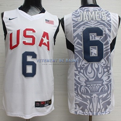 Maillot NBA 2008 USA NO.6 James Blanc