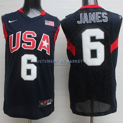 Maillot NBA 2008 USA NO.6 James Noir