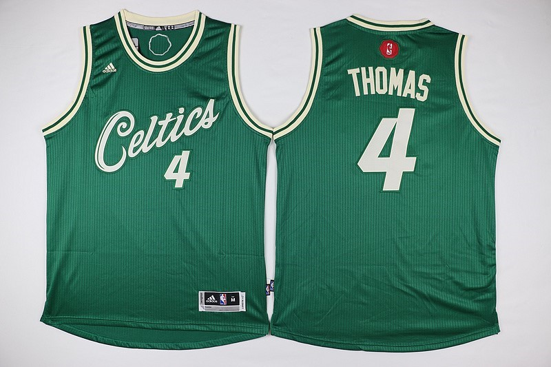 Maillot NBA Boston Celtics 2015 Noël NO.4 Thomas Vert