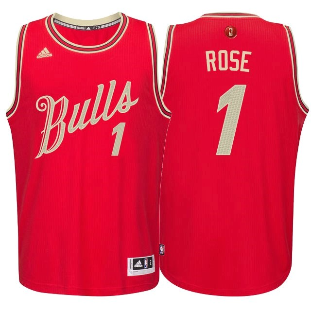 Maillot NBA Chicago Bulls 2015 Noël NO.1 Rose Rouge