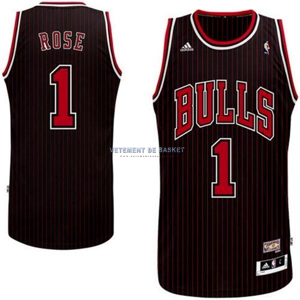 Maillot NBA Chicago Bulls NO.1 Derrick Rose Noir Bande