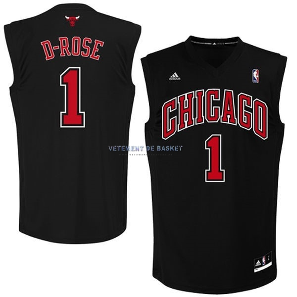 Maillot NBA Chicago Bulls NO.1 Derrick Rose Noir Rouge