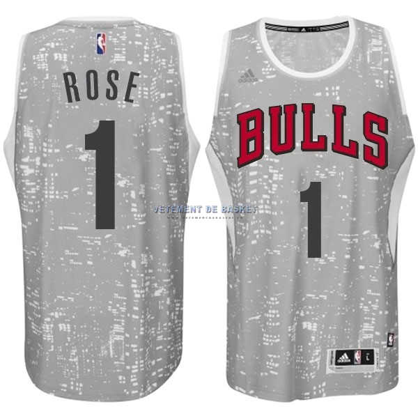 Maillot NBA Chicago Bulls Ville Lumières NO.1 Rose Blanc