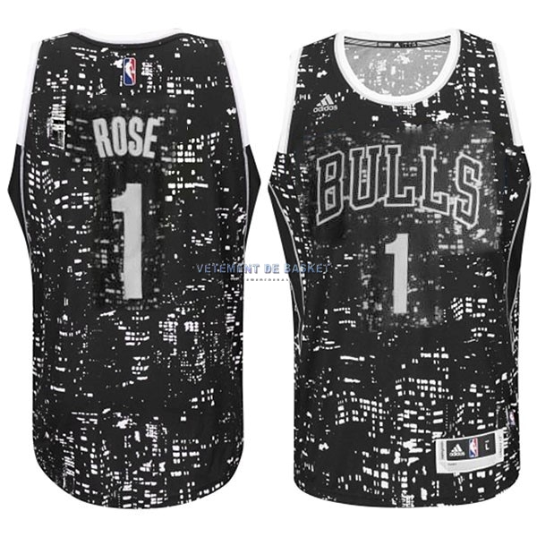 Maillot NBA Chicago Bulls Ville Lumières NO.1 Rose Noir
