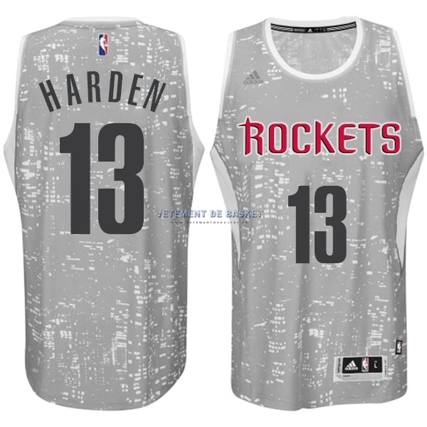 Maillot NBA Houston Rockets Ville Lumières NO.13 Harden Gris