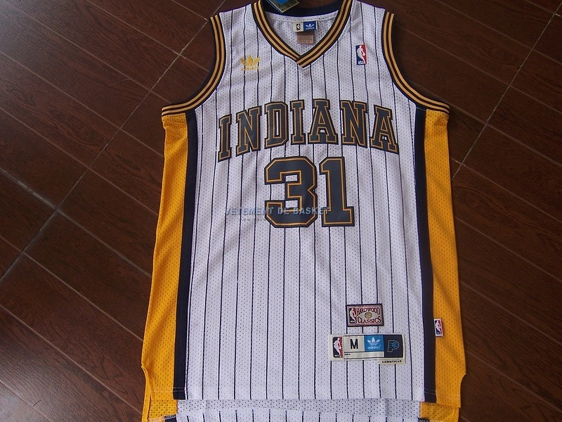 Maillot NBA Indiana Pacers NO.31 Reggie Miller Blanc Bande