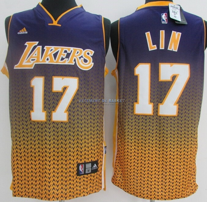 Maillot NBA Los Angeles Lakers Retentisse Fashion NO.17 Lin Or