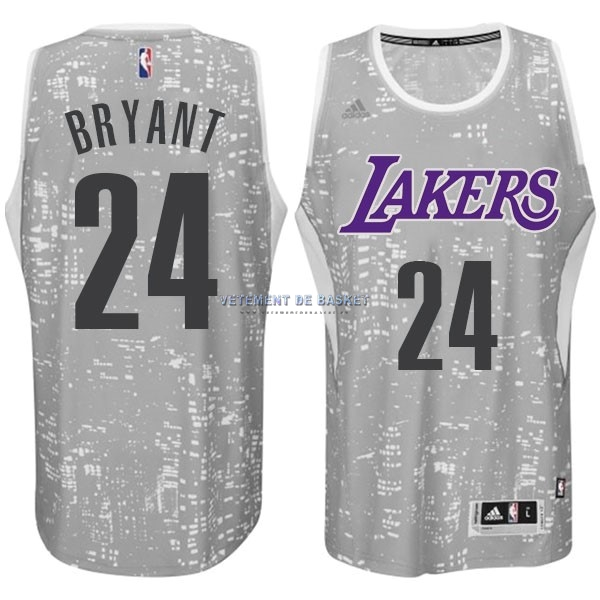 Maillot NBA Los Angeles Lakers Ville Lumières NO.24 Bryant Gris