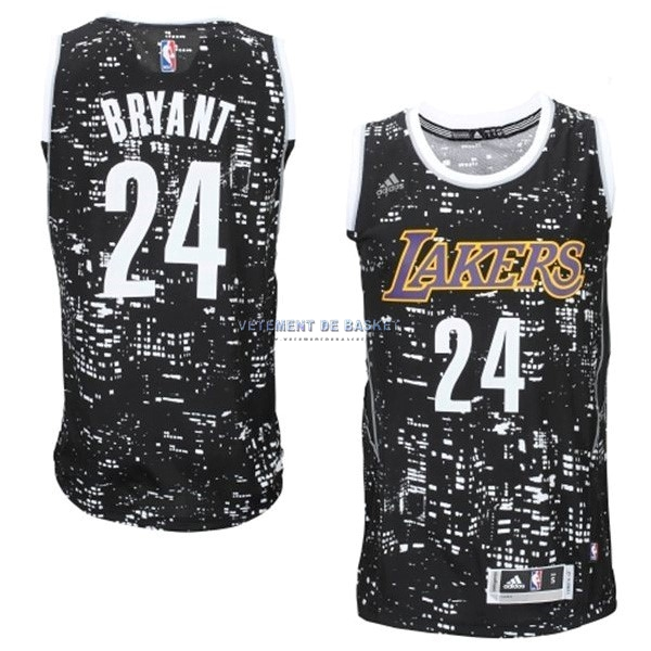 Maillot NBA Los Angeles Lakers Ville Lumières NO.24 Bryant Noir
