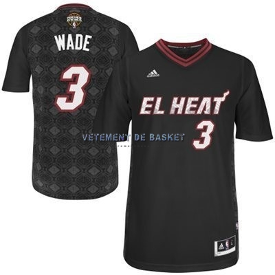 Maillot NBA Miami Heat Nuits Latine Manche Courte NO.3 Wade Noir