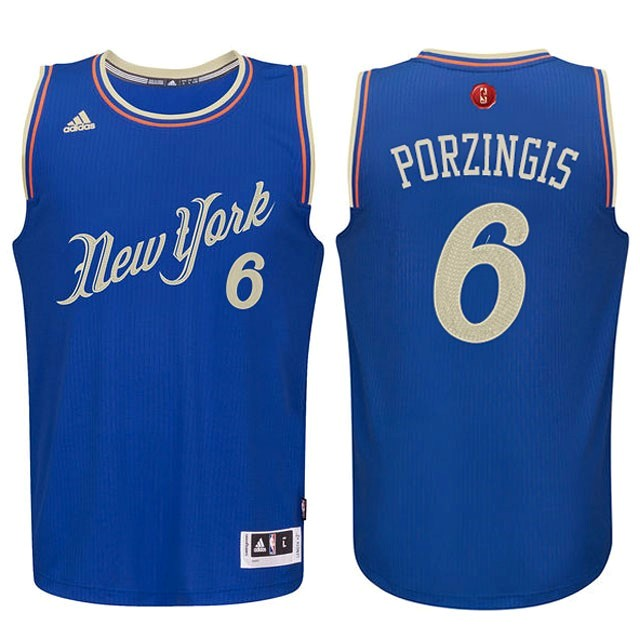 Maillot NBA New York Knicks 2015 Noël NO.6 Porzingis Bleu