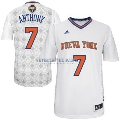 Maillot NBA New York Knicks Nuits Latine Manche Courte NO.7 Anthony Blanc
