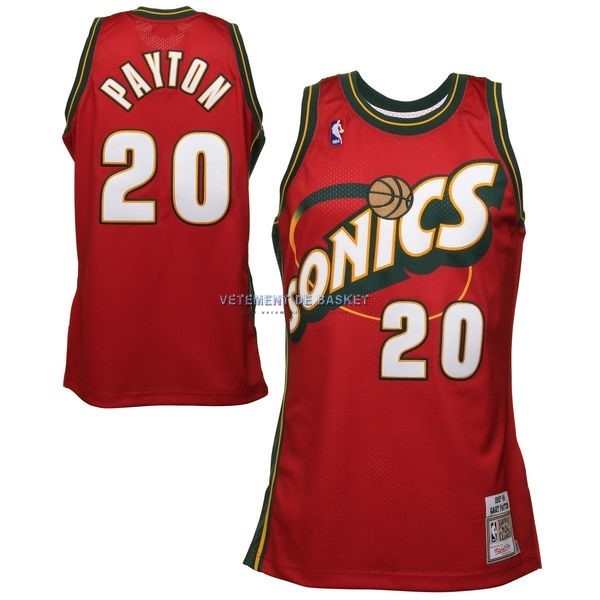 Maillot NBA Seattle Supersonics NO.20 Gary Payton Retro Rouge