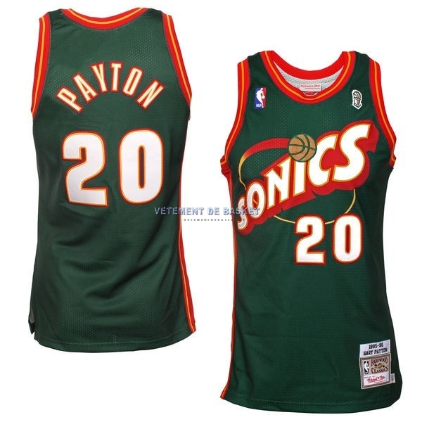 Maillot NBA Seattle Supersonics NO.20 Gary Payton Retro Vert