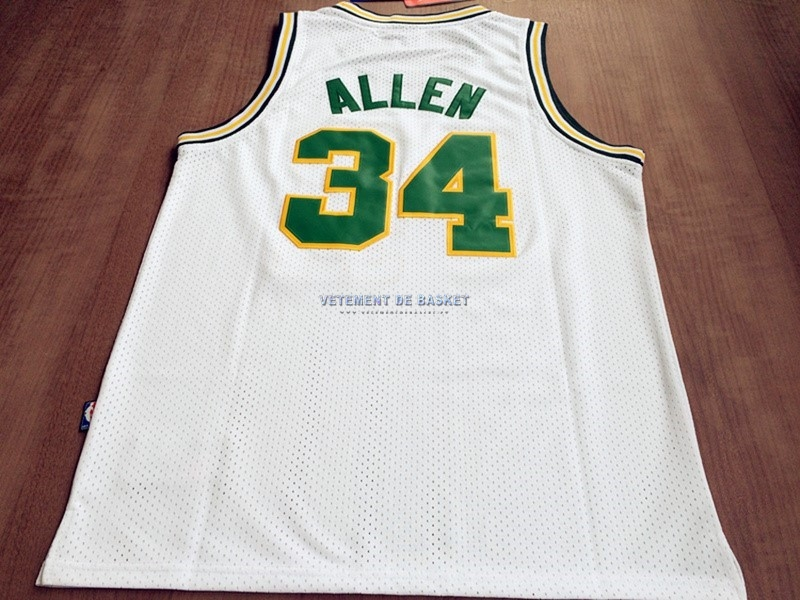 Maillot NBA Seattle Supersonics NO.34 Ray Allen Retro Blanc