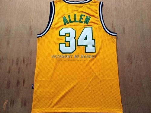 Maillot NBA Seattle Supersonics NO.34 Ray Allen Retro Jaune