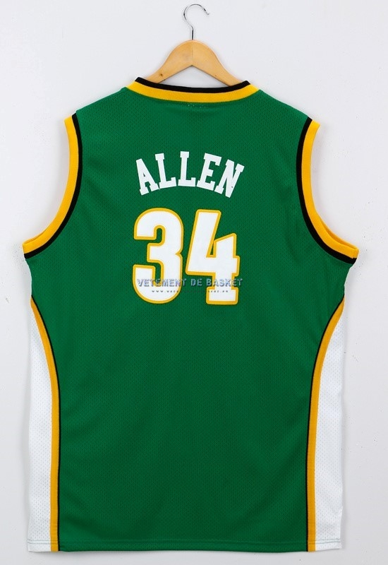 Maillot NBA Seattle Supersonics NO.34 Ray Allen Vert