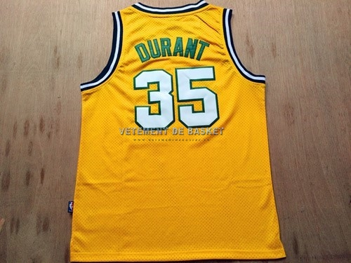 Maillot NBA Seattle Supersonics NO.35 Kevin Durant Retro Jaune
