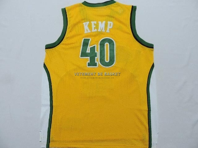 Maillot NBA Seattle Supersonics NO.40 Shawn Kemp Jaune