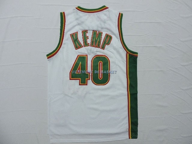 Maillot NBA Seattle Supersonics NO.40 Shawn Kemp Retro Blanc
