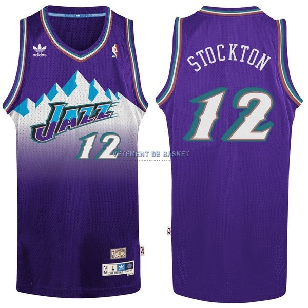 Maillot NBA Utah Jazz NO.12 John Stockton Pourpre