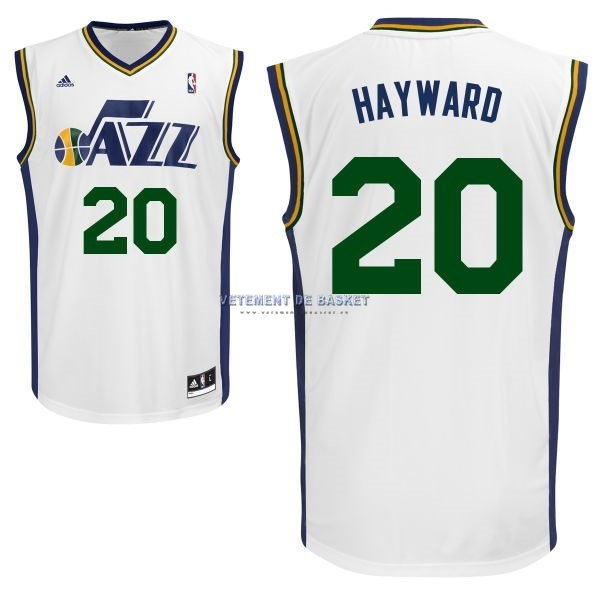 Maillot NBA Utah Jazz NO.20 Gordon Hayward Blanc