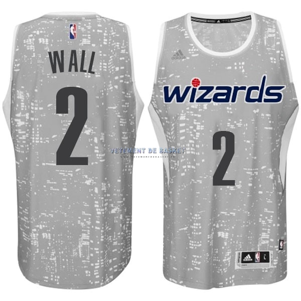 Maillot NBA Washington Wizards Ville Lumières NO.2 Wall Gris