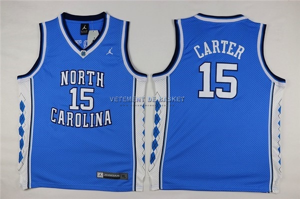 Maillot NCAA Enfant North Carolina NO.15 Vince Carter Bleu