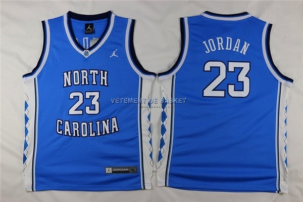 Maillot NCAA Enfant North Carolina NO.23 Michael Jordan Bleu
