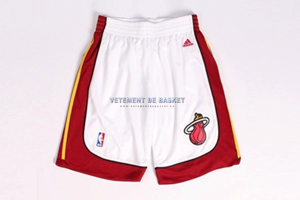 Short Basket Miami Heat Blanc Rouge