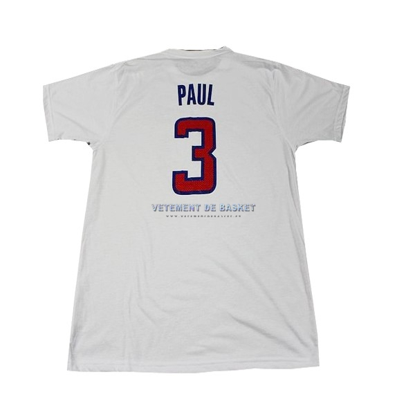 Maillot NBA Los Angeles Clippers Manche Courte NO.3 Paul Blanc